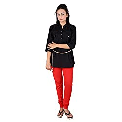 GO4IT's Black Colored Printed Tops For Women-S