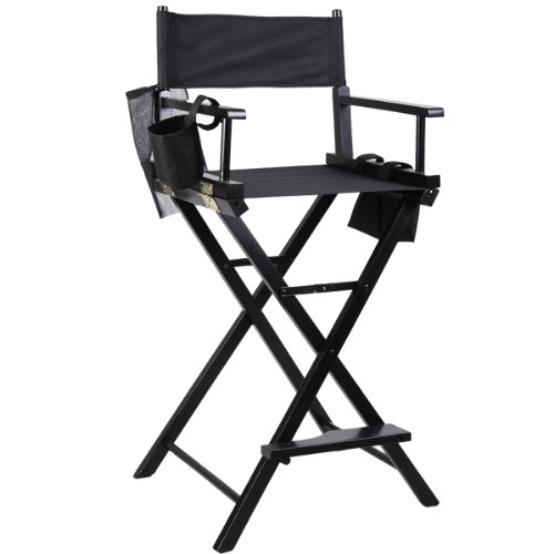 Professional Makeup Artist Directors Chair Wood Light Weight Foldable Black New front-556778