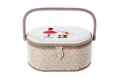 Professional Sewing Kit With Oval Sewing Accessories Organizer Basket and Sewing Supplies 13 x 9 x 6 Inches by Juvale (Sewing Travel Organizer compare prices)