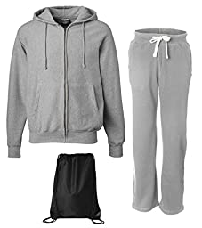 Weatherproof Men\'s Cross Weave Sweatsuit, Top: 2XL / Bottom: L, Heather Grey