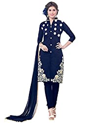 Latest Embroidered Chanderi Navy Blue Dress Material