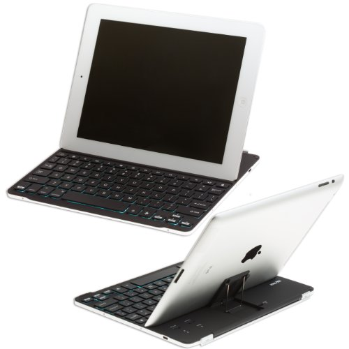 Sharkk Backlit Ultrathin Ipad Bluetooth Wireless Keyboard Aluminum Cover Case With Stand For Ipad 4 / 3 / 2 Keys Have 7 Backlight Color Options