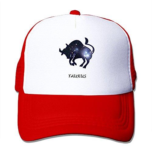 Custom Unisex-Adult Taurus Zodiac Star Flat Brim Baseball Hats Red (Taurus Toaster compare prices)