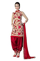Zbuy Beige and Red Cotton Embroidered Unstitched Salwar Suit Dress Material
