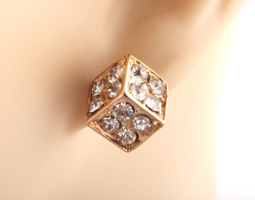 Ladies Iced Out Gold .35 Inch Dice Stud Earrings