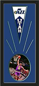 Utah Jazz Wool Felt Mini Pennant & Karl Malone Action Photo - Framed With Team... by Art and More, Davenport, IA