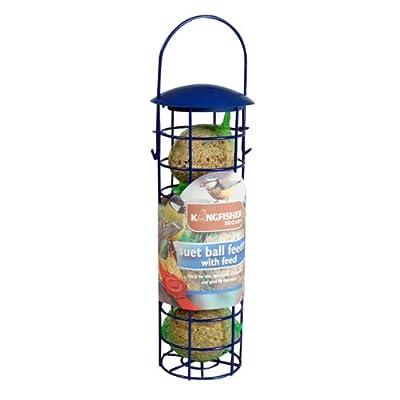 Kingfisher Suet Fat Ball Hanging Feeder With 4 Suet Balls Garden Wild Birds New