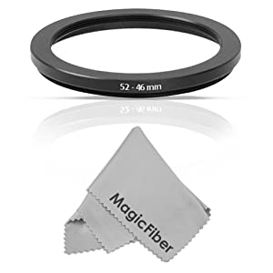 Goja 52-46MM Step-Down Adapter Ring (52MM Lens to 46MM Accessory) + MagicFiber Microfiber Lens Cleaning Cloth