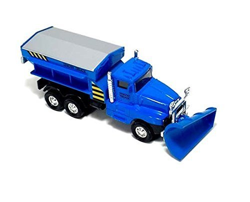 "6"" Cool Blue Diecast Snow Plow Salt Truck with Pull Back and Go Action - 1"