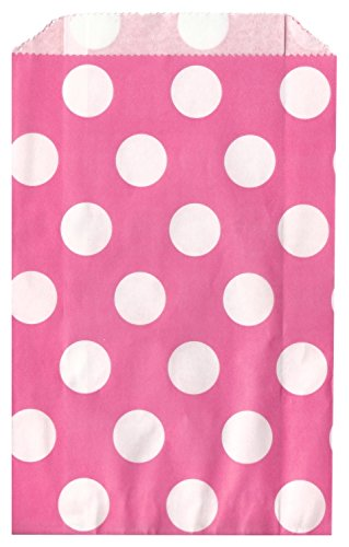 Polka Dot Bubble Gum Hot Pink Food Treat & Favor Paper Bags 24Pk 5X7 - Twilight Parties