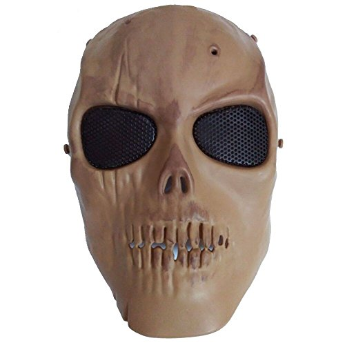 [Airsoft Tactical Mask Paintball Skull Skeleton Full Face Costume Mask Eye Protection with Metal] (Full Face Gas Mask Costume)