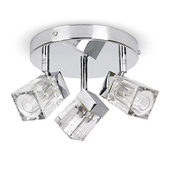 Modern chrome ice cube 3 way ip44 bathroom ceiling light spotlight diy tools for Modern bathroom ceiling light fixtures
