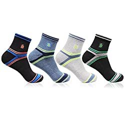 Bonjour Mens Cotton Ankle Length MultiColor Cushioned Jogger 4 Pair Socks_BRO2704-PO4