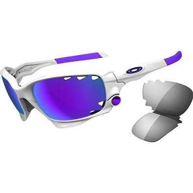Oakley Jawbone Men's Sport Lifestyle Sunglasses/Eyewear - Polished White/Violet Iridium Vented, Light Grey / One Size Fits All