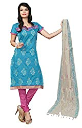 7 Colors Lifestyle Light Blue Coloured Embroidered Chanderi Unstitched Dress Material