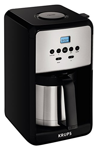KRUPS ET351 SAVOY Programmable Thermal Stainless Steel Filter Coffee Maker Machine with Bold and 1-4 Cup Function, 12-Cup, Black (Thermal 4 Cup Coffee Maker compare prices)