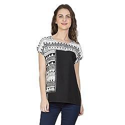 Desi Belle Casual Black Printed Rayon Top