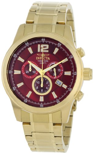 Invicta Men's 0793 II Collection Chronograph Red Dial 18k Gold-Plated Stainless Steel Watch