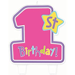 Amazon.com: Hugs and Stitches Girl's 1st Birthday Candle: Toys & Games