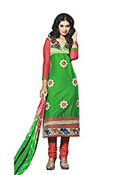 Elegant Trendz Womens Cotton Semi Stitched Embroidery Dress (ET08_Green and Pink)