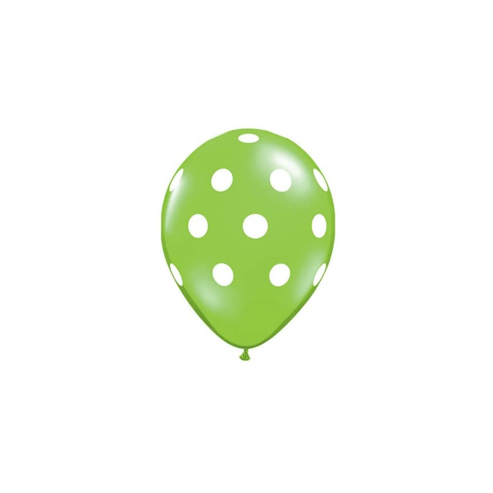 Lime Green Polka Dot Balloons   11 inch Latex Polkadot   50 Count