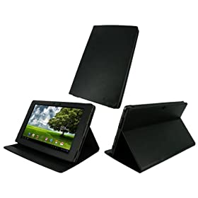 rooCASE Multi-Angle (Black) Leather Folio Case Cover for Asus Eee Pad Transformer 10.1-Inch TF101 Android Tablet Wi-Fi