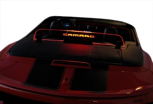 2011+ Chevrolet Camaro 5th Generation Convertible Wind Deflector Wind Blocker Windschott Windscreen Wind Restrictor Windrestrictor Brand Engraved Logo with Red Lighting GM Licensed (5th Generation Camaro Accessories compare prices)