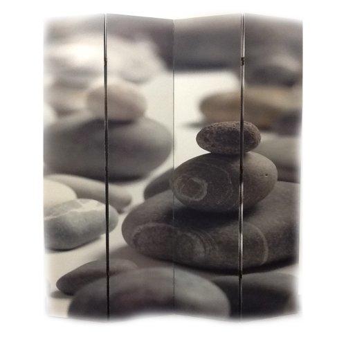 Ore International 4-Panel Room Divider, Calming Stones front-717639
