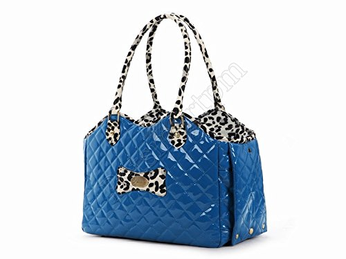 Petsmartpm 91BU Blue Oblique Grid Leather Dog Carriers Bag Pet Totes Purse Puppy Handbag Cat Cage Doggy Pouch
