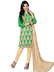 STYLE N DEAL Women's Jacquard Unstitchced Dress Material (254D1005_Green_Free Size )