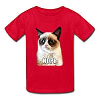 Crew Neck Causal Kids Boys And Girls Grumpy Cat Nope T Shirts