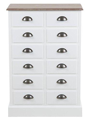 Commode style maison de campagne Blanc 60x 30x 90cm avec 12tiroirs Buffet Poignées en métal antique/antique en bois de chêne