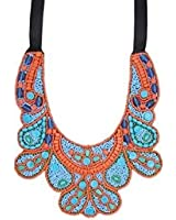 ZAD Turquoise & Red Glass Beaded Bib Necklace