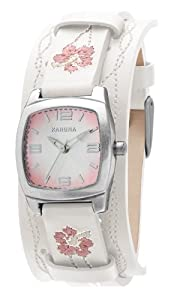 Kahuna Women's Quartz Watch with Pink Dial Analogue Display and White Plastic or PU Cuff KLS-0261L