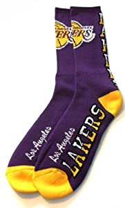 Los Angeles Lakers Flip Side Crew Socks Mens Size Large 10-13 - For Bare Feet by NBA Store