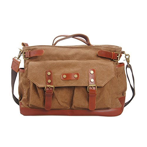 Gracemen Fashionable Canvas Large Capcity Leisure Toting Messenger Bag Fortravelling With Multiple Functions-Coffee