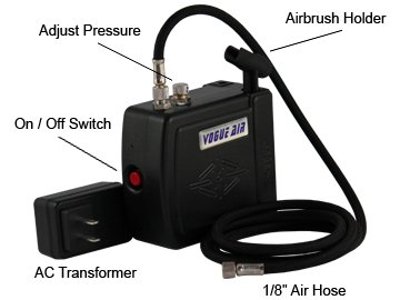 Master Airbrush Multi-purpose Mini Airbrush Compressor with Air Hose and Brush Holder