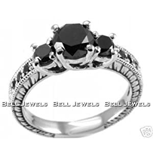 Click to buy Fancy Black Diamond Engagement Ring Antique Style from Amazon!