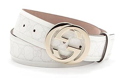 Gucci GG Plus Interlocking G Buckle Leather Belt, White 142930