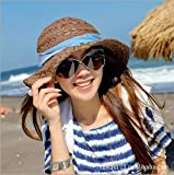 Search : B·LEVE New Arrival Women's Wide Brim Braided Sun Hat with Wind Lanyard (Coffee)