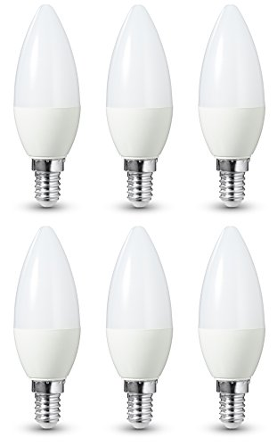 AmazonBasics LED Bulb E14, 6W to 40W, 470 lumens, Dimmable - Pack of 6