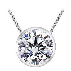 1.5 Carat Bezel Solitaire Diamond Pendant 14K White Gold (J, SI2-I1, 1.5 ctw) w/ silver chain