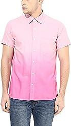 Y.U.V.I. Men's Cotton Slim Fit Casual Shirt (11123059-L, Pink, Large)