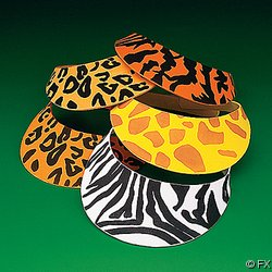 12 Foam Safari Animal Print Sun Visors - 1