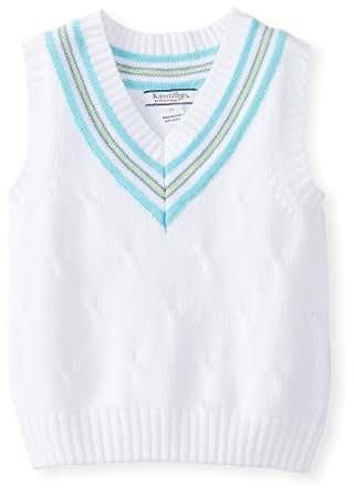 Kitestrings Little Boys' Toddler Cable Knit V-Neck Sweater Vest, White, 3T