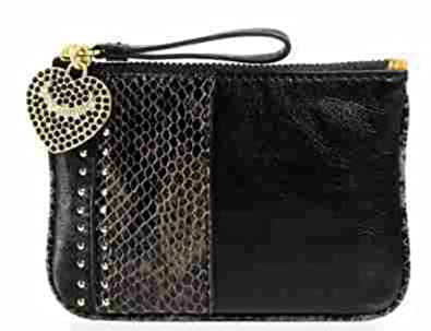 Juicy Couture Snake and Stud Leather Small Pouch Black