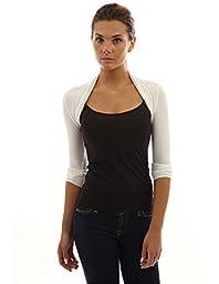 PattyBoutik Women\'s Long Sleeve Bolero Shrug (Ivory L)