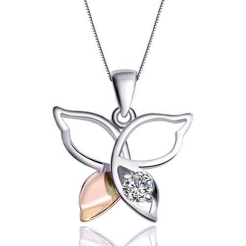 Chaomingzhen Charm High Quality Rhodium Plated Sterling Silver cubic zirconia Butterfly Design Pendant Necklace Fashion Jewellery for Women or for Girlfriend with Chain18