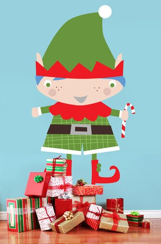 Oopsy Daisy Peel and Place Santa's Little Helper Boy by Vicky Barone, 54 by 30-Inch