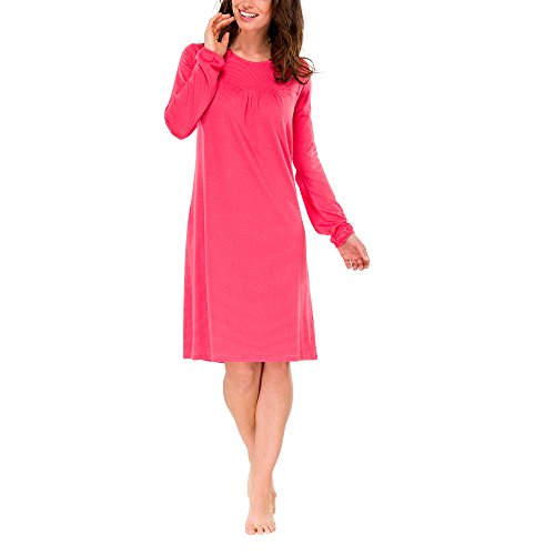 Schiesser Damen Nachthemd Sleepshirt 1/1 Arm, 95 cm, Gr. 46 (Herstellergröße: 046), Rot (hellrot 501)